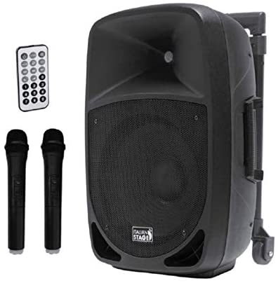 Italian Stage IS FR12AW Tragbares Lautsprechersystem, batteriebetrieben, MP3-Player, SD-Karte, USB und Bluetooth + 2 Mikrofone Palmari Wireless, Schwarz