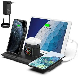 NANAMI Kabelloses Ladestation, QI Wireless Charger, 5 in 1 drahtlose Ladegerät (mit 36W DC Netzteil) für Apple Watch 6/5/4/3/2/1,AirPods Pro,iPhone 12/SE 2/11/XS Max/XR/X/8/8 Plus,Galaxy S20/S10/S9/S8