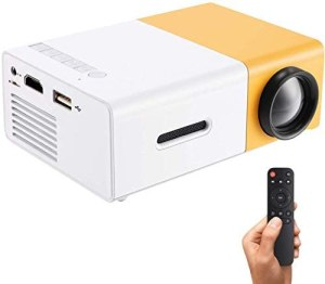 Ohyoulive Mini Projector – Portable Theater Home Office HD 1080P Yellow LED Home Office HD Mini Projector Multimedia for Children Present, Video TV Movie, Party Game, Outdoor Entertainment New