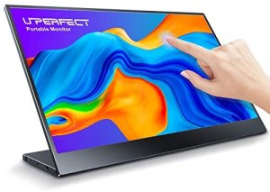 Portable Touchscreen USB C Monitor, UPERFECT 15.6″ FHD 1920×1080 HDR Dünnste Display Gaming Bildschirm Halterung Integrierte & Rahmenlose Lünette Glas HDMI Laptop-Display