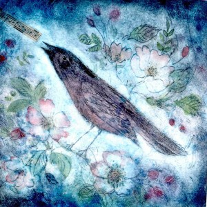 Briar Bird (blue) Joanna Allen  Crop33.8x34.8 cm £95 handcoloured  monoprint