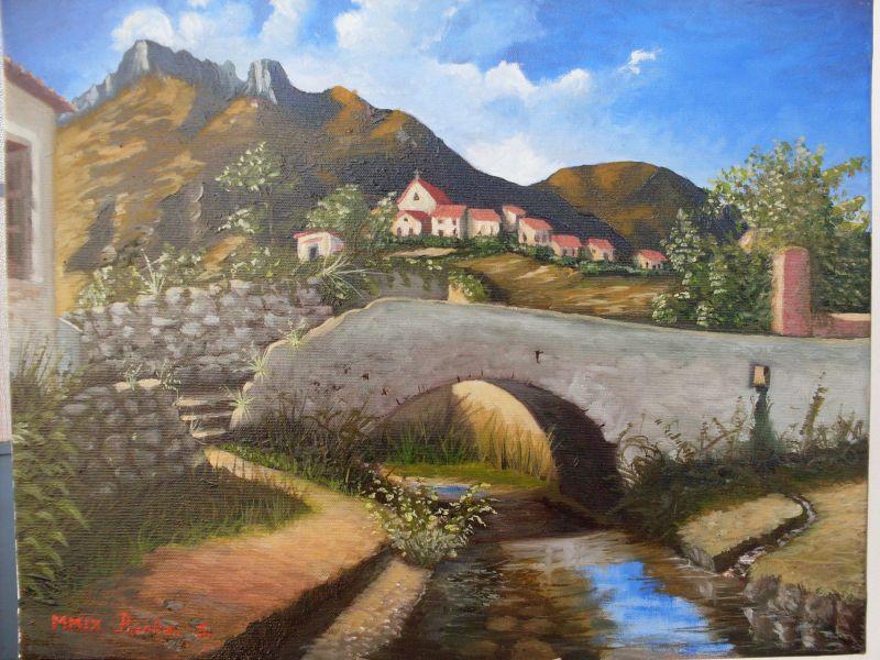 Paesaggio ligure con ponte medievale  Opera darte di Idem