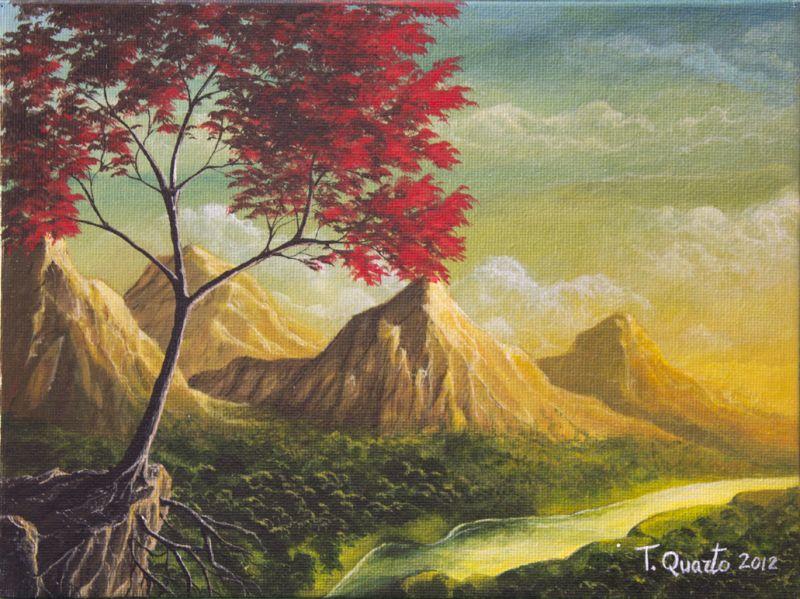 Paesaggio Montagna Disegno Colorato