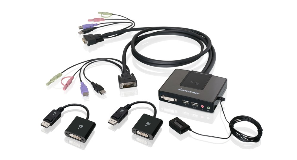 medium resolution of 2 port dual link dvi and displayport cable kvm kit with 2 1 audio