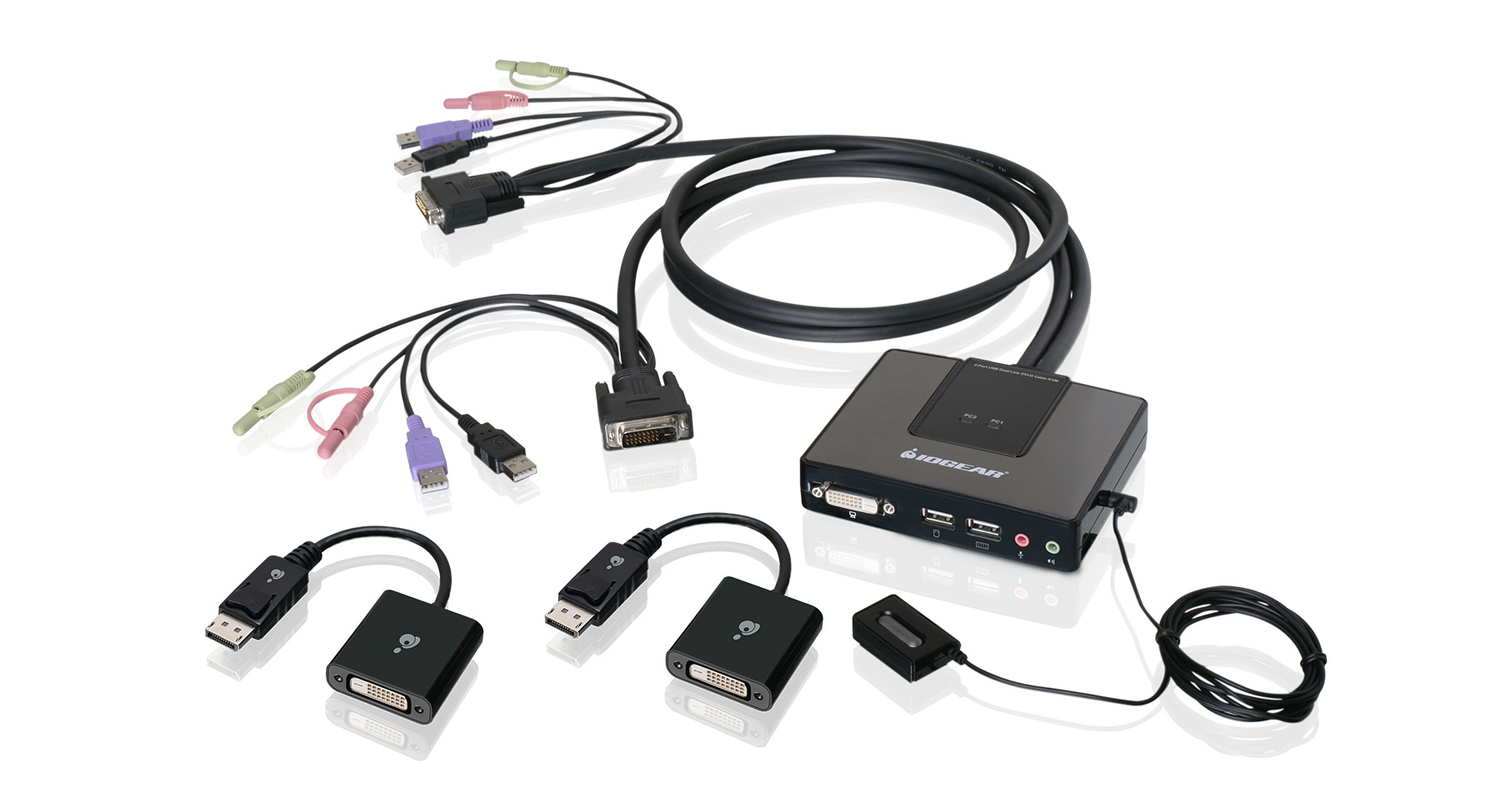 hight resolution of 2 port dual link dvi and displayport cable kvm kit with 2 1 audio