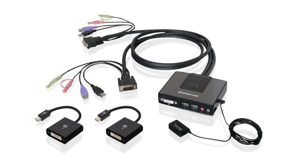 medium resolution of 2 port dual link dvi and mini displayport cable kvm kit with 2 1 audio