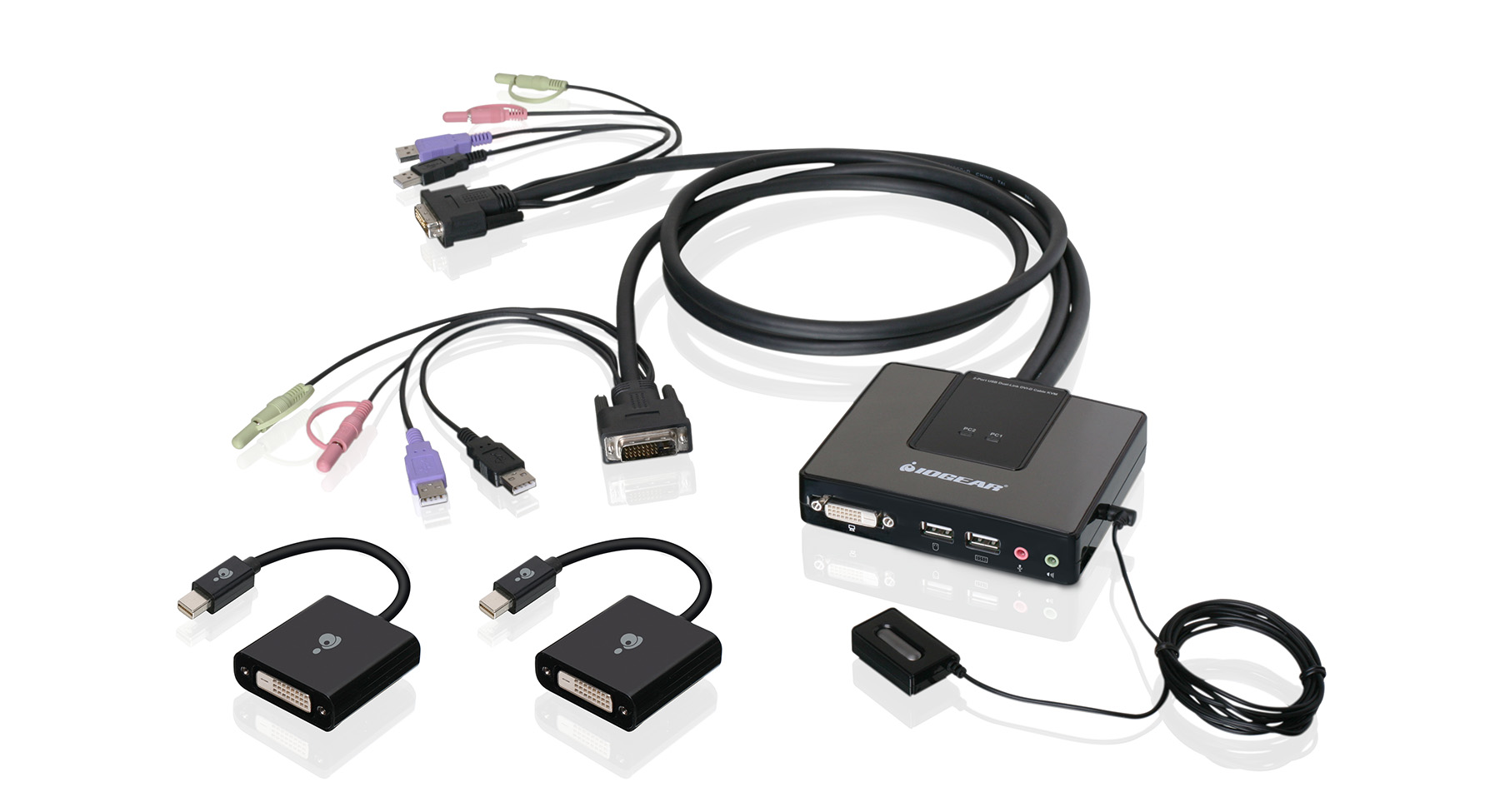 hight resolution of 2 port dual link dvi and mini displayport cable kvm kit with 2 1 audio