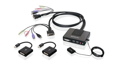 small resolution of 2 port dual link dvi and mini displayport cable kvm kit with 2 1 audio