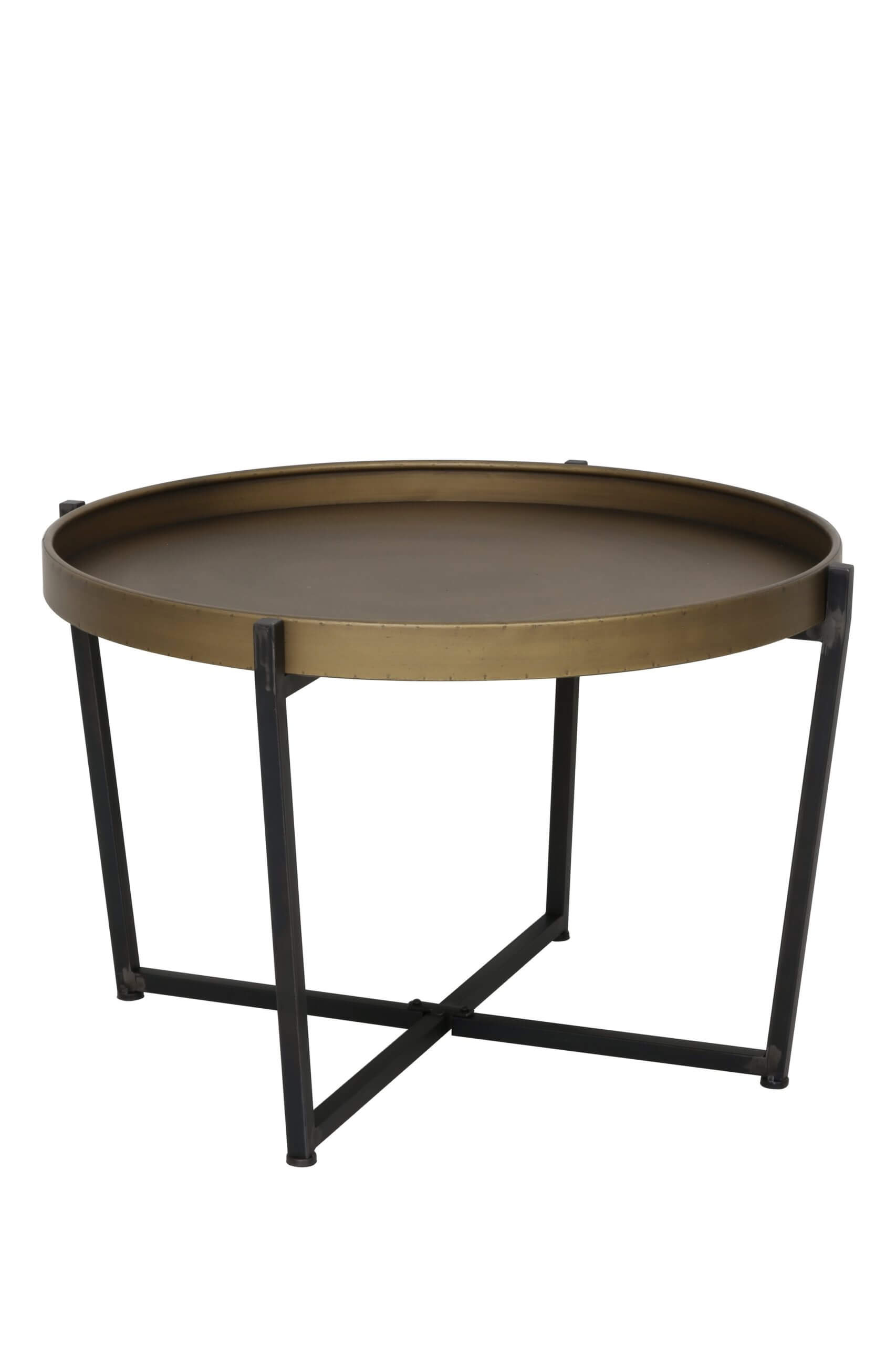 Light Living Bronze Round Coffee Table With Raised Rim
