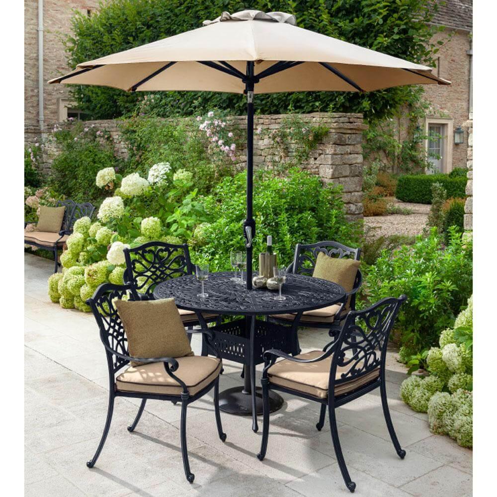 2021 hartman capri 4 seater round garden dining table set bronze