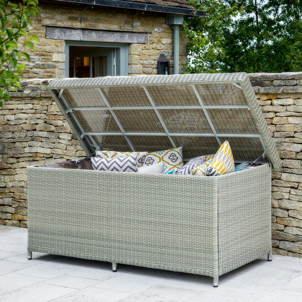 2021 bramblecrest monterey outdoor large cushion storage box with waterproof liner dove grey