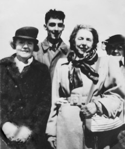 Joe Blair (centre) arriving on Iona for the first time (Joe Blair archive)