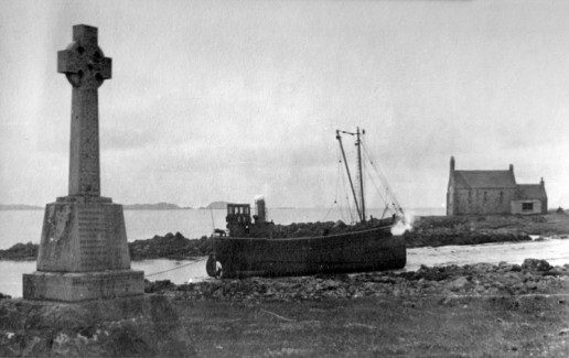 The puffer anchored in Martyrs' Bay (Faith Aitken archive)