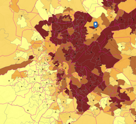 Map showing comparative deprivation in Sheffield c/o Church Urban Fund)