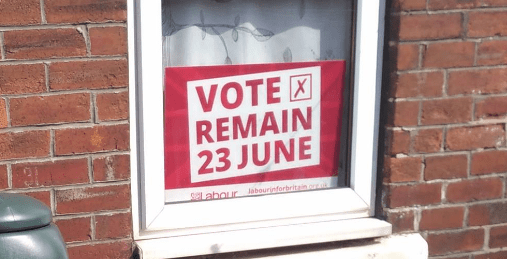 Vote remain: placard on window sill