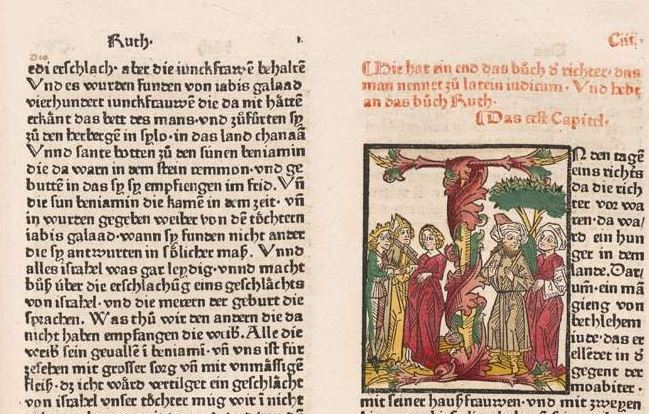 The opening of the book of Ruth from Zainer's bible, ca. 1475