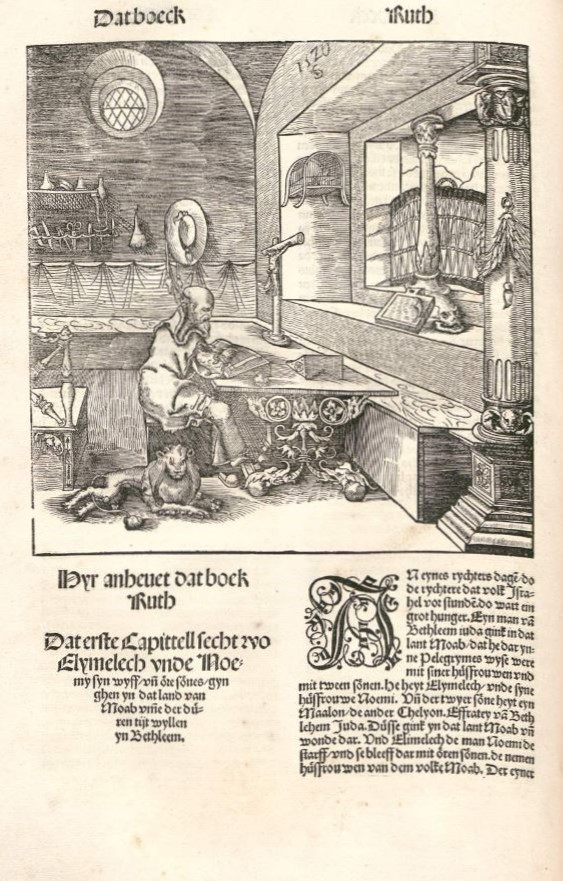 The opening of Ruth in the Halberstadt Bible (woodcut)