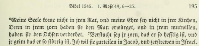Detail from Luther's 1545 translation of Genesis 49, via the Weimar Collected Works.