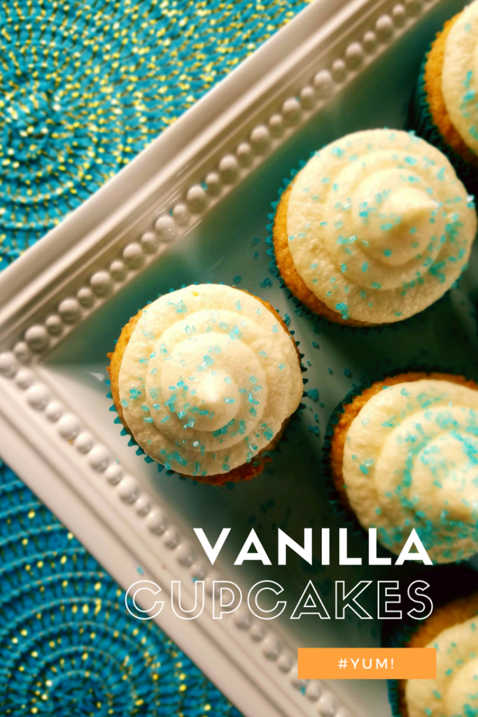 Enjoy homemade vanilla cupcakes with scratch made buttercream frosting.