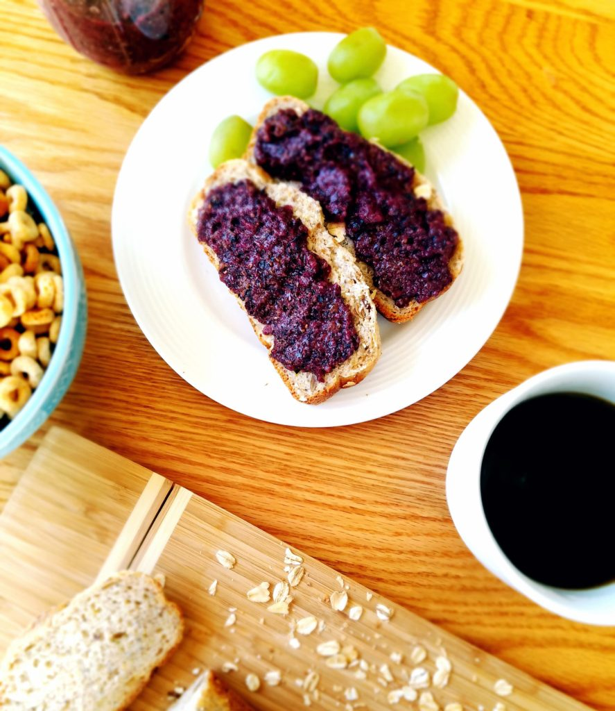 Homemade blueberry chia seed jam. A few natural ingredients make this recipe healthy, simple and delicious.