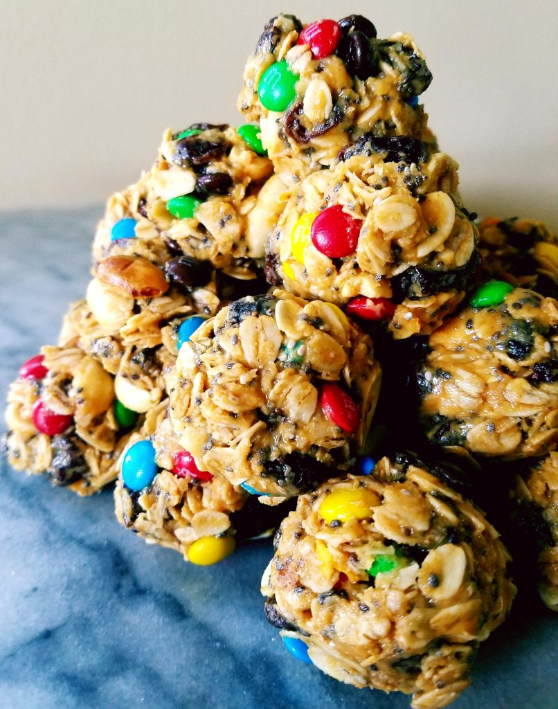 These trail mix energy bites are gluten free, easy to make in one bowl, and have just enough chocolate to satisfy any chocolate craving.