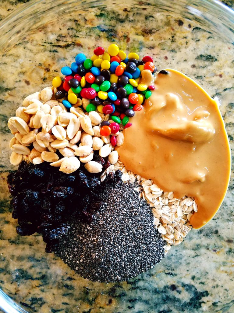 Good for you ingredients make trail mix energy bites a great pre or post healthy workout snack.