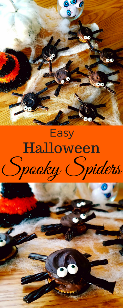 Spooky spider Halloween treats are easy to make and only require 5 ingredients. Serve them at your upcoming Halloween party.