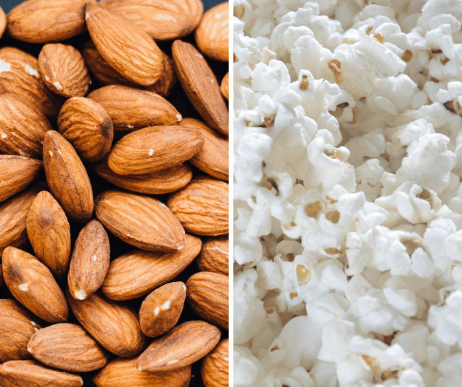 Nuts and popcorn are great holiday road trip snacks. They pack really easily, and are even easier to eat.