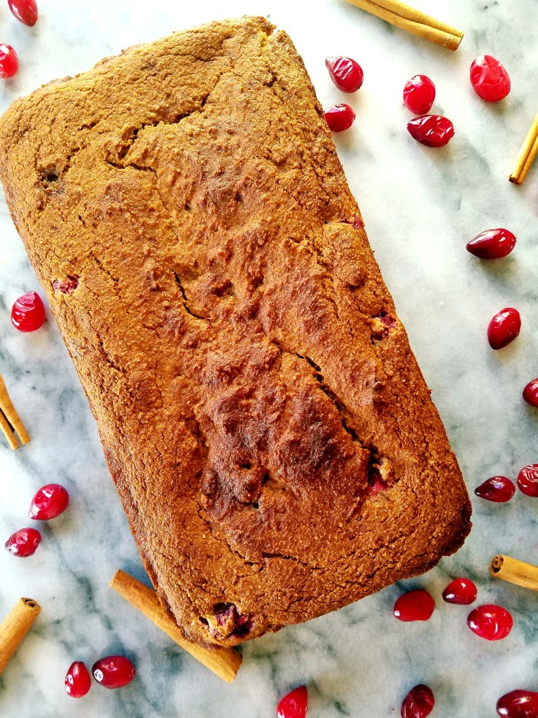 Cranberry cream cheese loaf is a healthy bread that can be eaten on Christmas morning for breakfast, or a sweet after dinner snack. Full of healthy ingredients that will be great after indulging throughout the holidays. #healthy #healthybreakfast #cranberries #bread