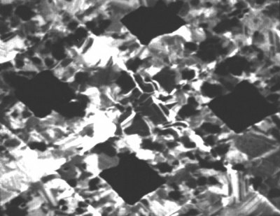 Secondary electron image of 12.5 micron repeat grid