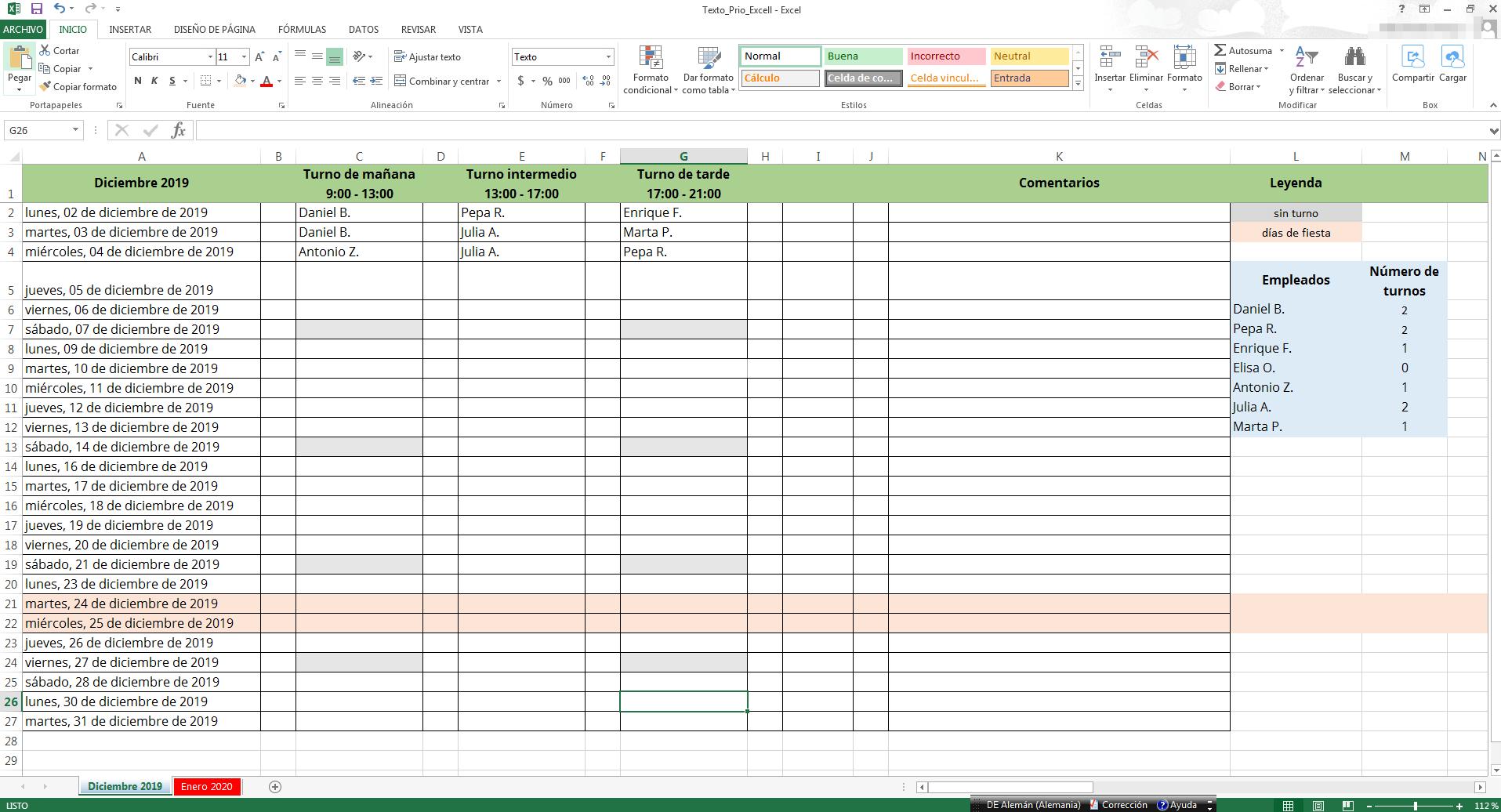 Cuadrantes De Turno De Trabajo En Excel Crear Plantilla