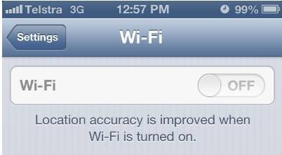 Grey WI-Fi setting on iPhone