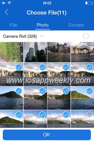 choose photos videos files in shareit app on iphone
