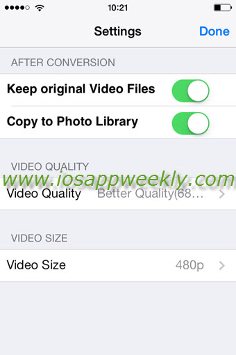 video slimmer app settings