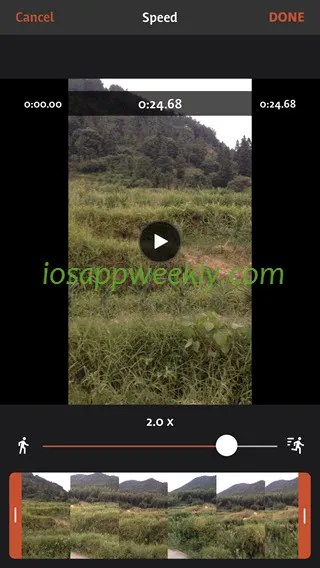 change video speed on iphone using videoshop video editor