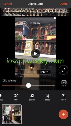 change video volume on iphone using videoshop