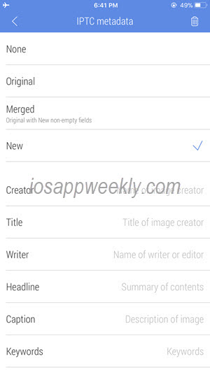 edit photo metadata, iptc on iphone using cropsize app