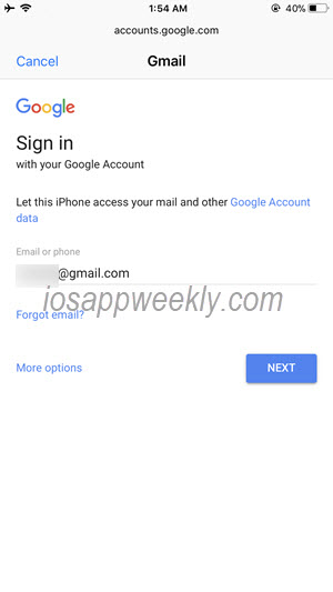 enter gmail account username on iphone