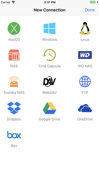 file explorer pro to create new connections from iphone
