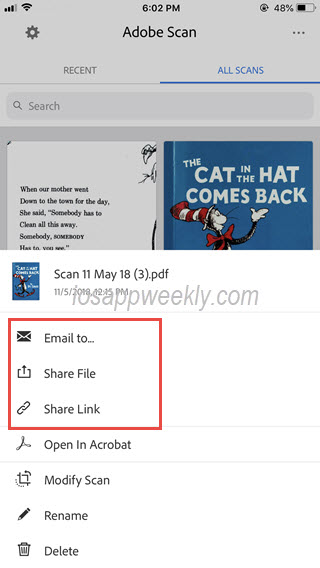 send, share scanned pdf files in adobe scan from iphone