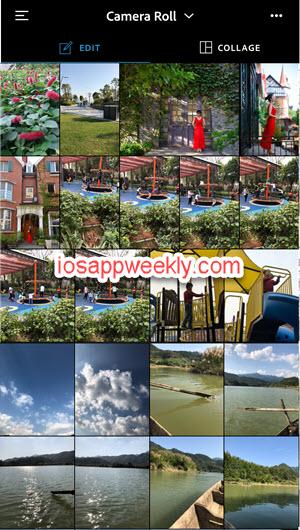 Adobe Photoshop Express Edit - select photos iPhone