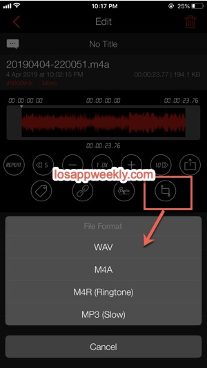 convert m4a wav mp3 m4r on iphone using awesome voice recorder