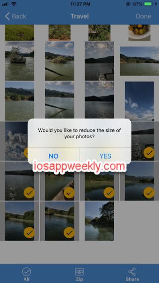zip photos, reduce file size using izip on iphone