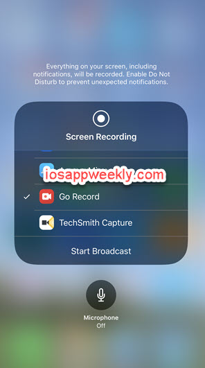 record screen using Go record on iPhone