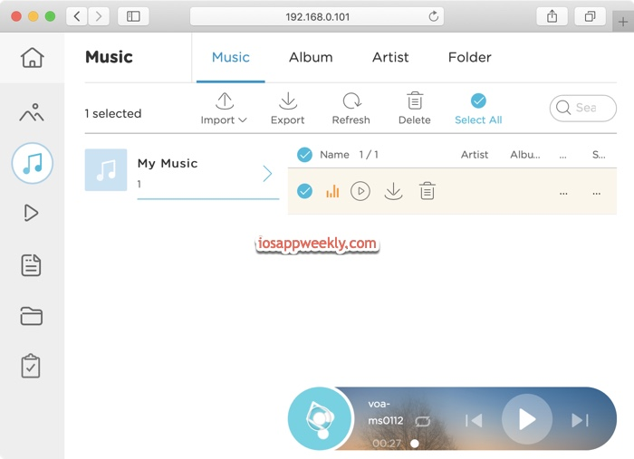 airmore web interface for Mac music management, transfer