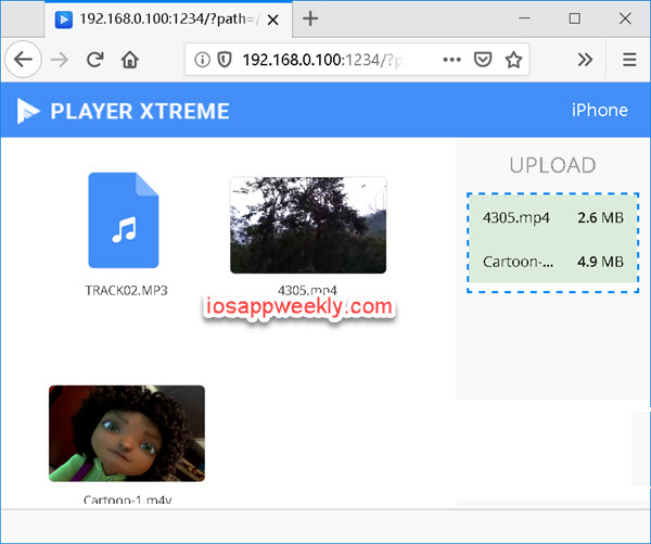 upload music, videos from pc to iphone via browser using playerxtreme