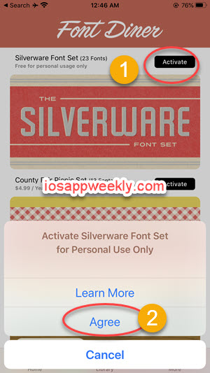 install free fonts using font diner on iphone