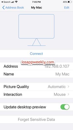 iPhone connect Mac using vnc viewer app through address book