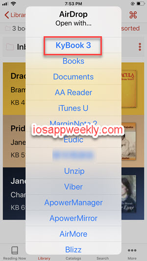 transfer books from mac to KyBook reader on iphone