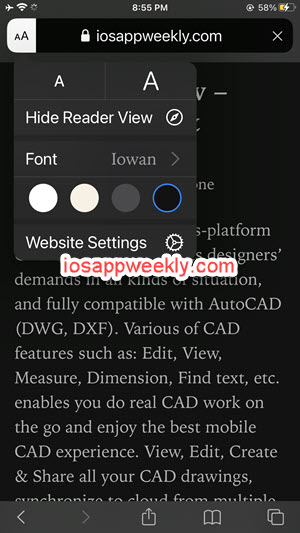 Enable reader view on iPhone, turn on reader mode safari